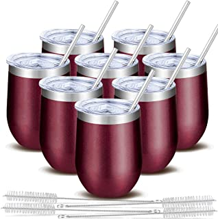 Blingco 8 Pack 12 Oz Stainless Steel Stemless Wine Tumbler, Wine Glass Tumbler with Lids & Straws, Double Wall Vacuum Cup Insulated Wine Tumbler for Wine, Coffee, Beer, Cocktails, Champagne(Wine Red)