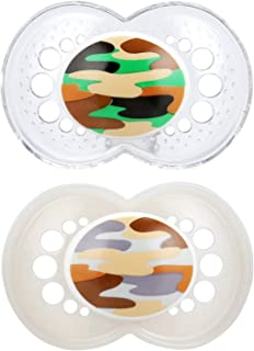MAM Pacifiers, Baby Pacifier 16+ Months, Best Pacifier for Breastfed Babies, 'Camo' Camouflage Designs, Unisex, 2-Count