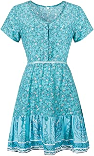 Qgbdsgdsg Floral Large Swing Skirt V-neck Short-sleeved Dress, Size:XXL(Red) (Color : Light Blue, Size : XXL)