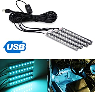 iJDMTOY 4pc 5-Inch 36-SMD LED Ambient Styling Lighting Kit For Car Interior Decoration, Powered From Car 5V USB Socket, Ice Blue