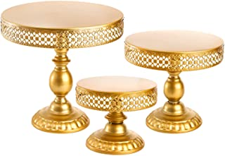 Suwimut 3-Set Cake Stand Gold Antique Metal Round Cupcake Stands Metal Dessert Display for Wedding Birthday Party, 12 Inc...