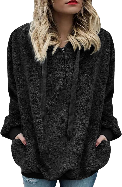 Womens Fleece Long Sleeve Sweatshirt Warm Wool Zipper Cotton Coat Fashion Solid Hoodie Pullover Tops