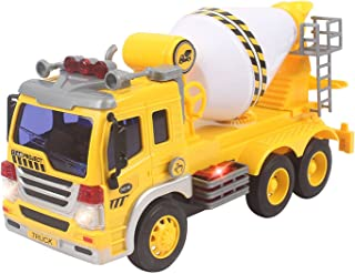 Playee Cement Mixer Toy Truck Friction Powered Construction Toy, for Boys and Girls with Beautiful Colored Lights and Sound of Truck, Can Actually Turn The Mixer, Great Car Toys Gift for Your Kids
