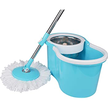 KEHAN King S310 Stainless Steel Easy Clean Spin Bucket Mop with Two Microfiber Mop Refills
