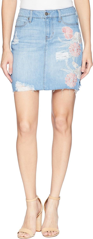 Liverpool Womens Frey Edge Skirt Distress in a Classic Soft Rigid Denim in Rivington Shred