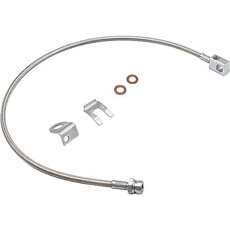 Pro Braking PBR2415-CAR-SIL Rear Braided Brake Line Carbolook Hose /& Stainless Banjos