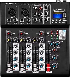 Depusheng HT4 Profesional 4 canales USB Jack Mezclador de audio portátil Bluetooth Live Studio Audio DJ Sonido Consola de ...