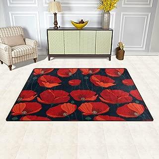 Jiayangzi Red Poppy Flowers Area Rug Non-Slip Backing Floor Carpet Modern Geometric Rugs Home Decorator Indoor Outdoor Floor Runner Accent Mat for Living Room Bedroom Kids Room 60x39 in