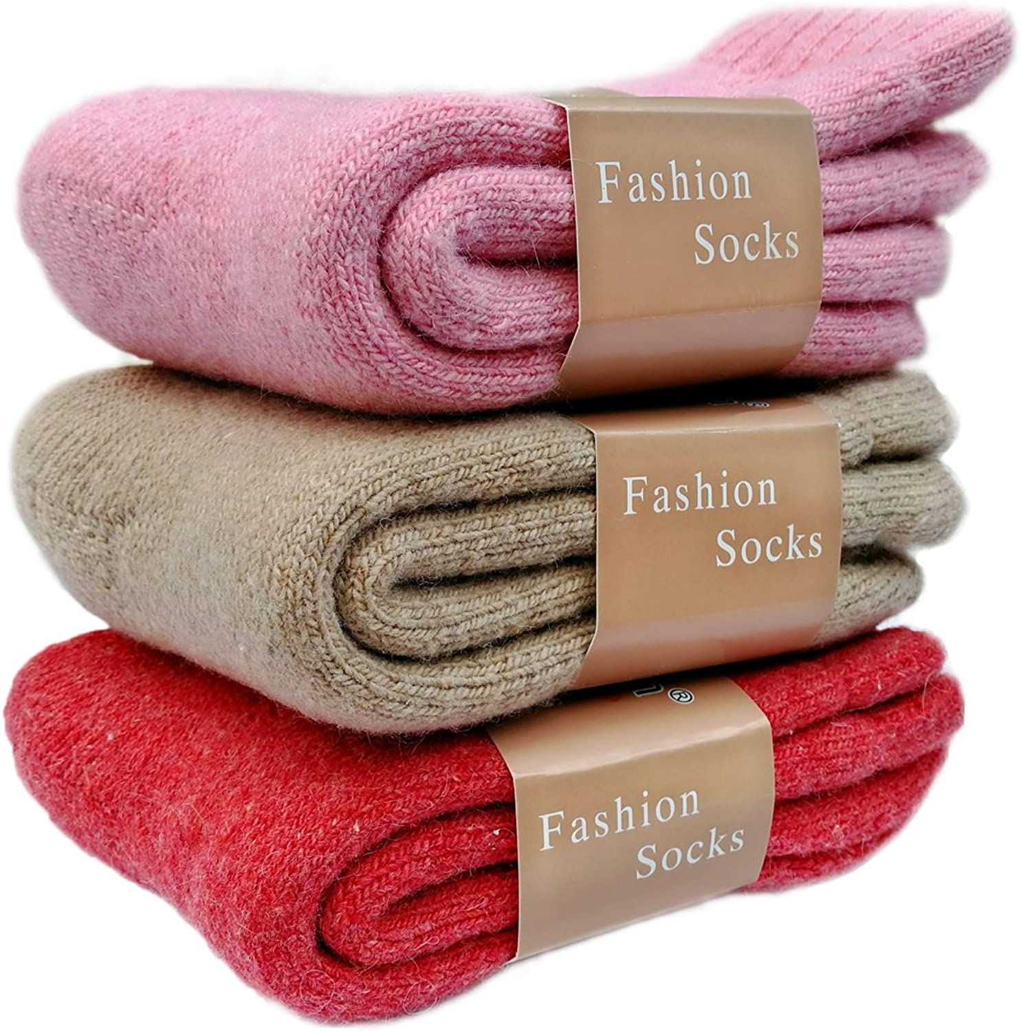 ZFang 3Pack Women's Super Thick Warm Wool Soft Winter Cold Crew Socks Size 59