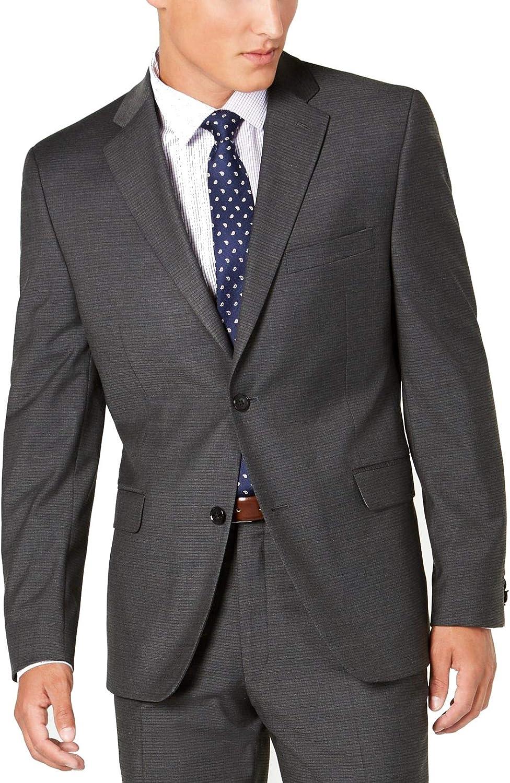 Alfani Mens Blazer Short Slim Fit Two-Button Stretch Gray 36