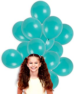 Treasures Gifted Turquoise Teal Solid Balloons 12 Inch Thick Latex Pack of 36 and 22 Yards Curling Ribbon Party Kit for Under The Sea Birthday Baby Shower Bachelorette Wedding Supplies