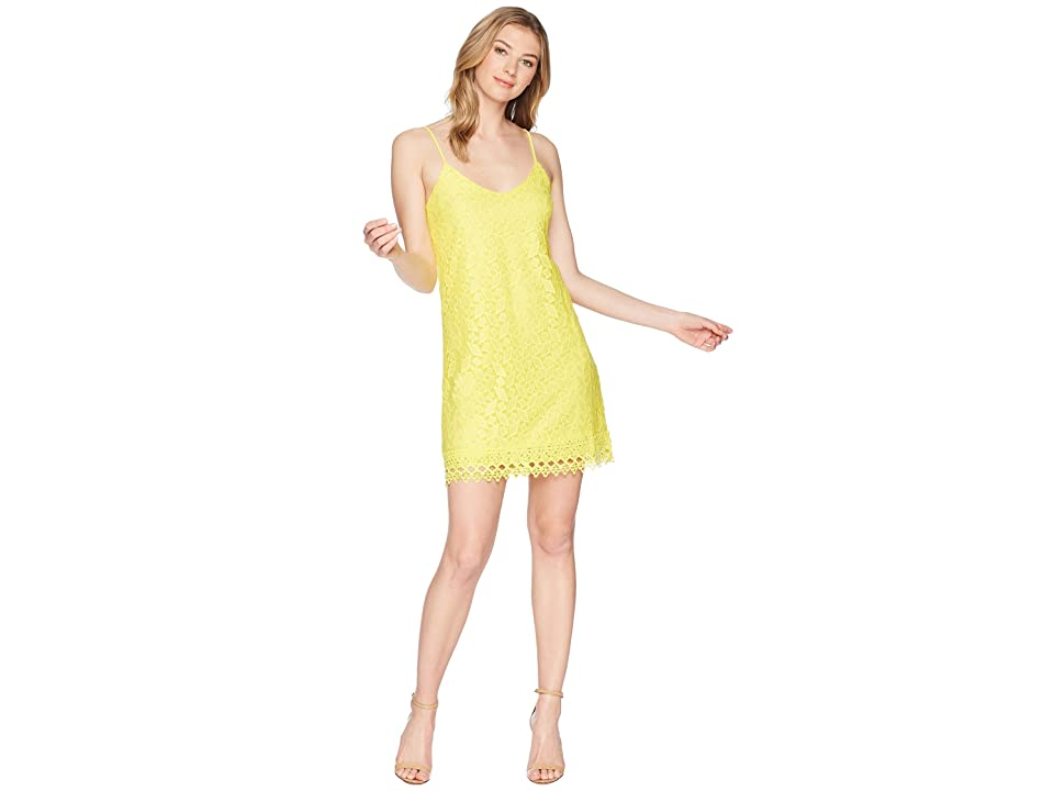 Jack by BB Dakota Jemma Geometric Lace Slip Dress (Lemon Yellow) Women