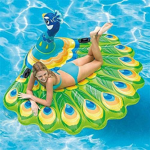 Aufblasbarer Schwimmringpose , Pfau Schwimmend Aufblasbarer Schwimmring des Grün Erwachsenen Sich Hin- Und Herbewegendes Bett Strand Spielt Wasserpark 195  165  95cm