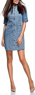 oodji Ultra Donna Abito in Jeans con Bottoni