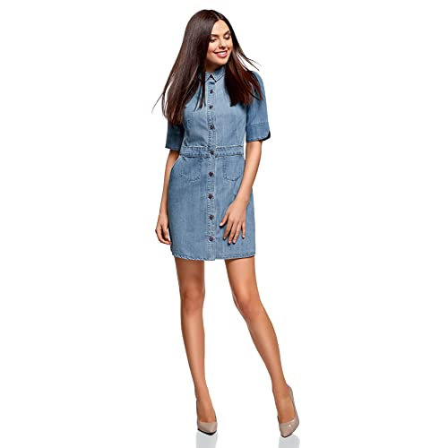dde26e729bce oodji Ultra Women's Buttoned Denim Dress