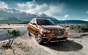 BMW X1 xDrive25Li (2016) Car Print on 10 Mil Archival Satin Paper Red Front Side Motion View 11