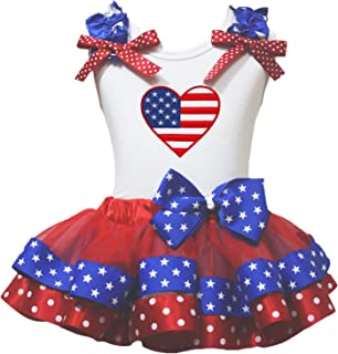 Petitebella Love America Heart Black Shirt RWB Stripes Red Petal Skirt Set Nb-8y