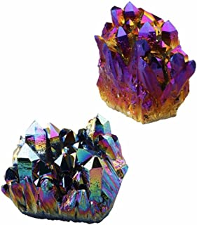 rockcloud Natural Titanium Coated Rainbow/Purple Crystal Quartz Cluster Geode Druzy Home Decoration Gemstone Specimen(Pack of 2)