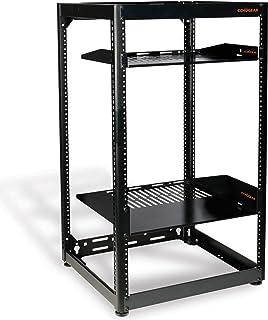 ECHOGEAR 15U Open Frame Rack - Heavy Duty 4 Post Design Holds All Your Network Servers & AV Gear - Includes 2 Vented Shelv...