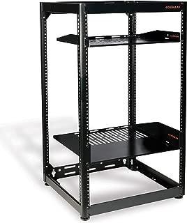 ECHOGEAR 20U Open Frame Rack - Heavy Duty 4 Post Design Holds All Your Network Servers & AV Gear - Includes 2 Vented Shelves & is Wall Mountable