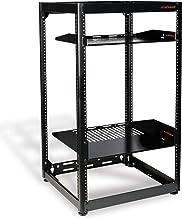 ECHOGEAR 20U Open Frame Rack for Servers & AV Gear - Heavy Duty 4 Post Design Includes 2 Vented Shelves & is Wall Mountable