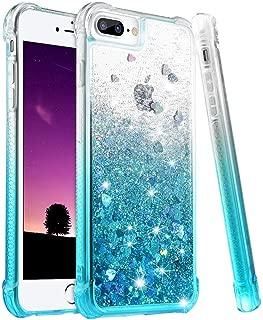 wlooo Funda para iPhone 8 Plus, Fundas iPhone 7 Plus, Glitter liquida Gradiente Silicona TPU Bumper Case Brillante Arena movediza Carcasa para iPhone 6 Plus/6s Plus/7 Plus/8 Plus (Gradient Teal)