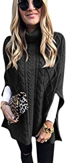 KEEPWO Womens Knitted Poncho Blanket Cowl Turtle Neck Jumper Cape Shawls Wraps Scarf Pullover Sweater Coat