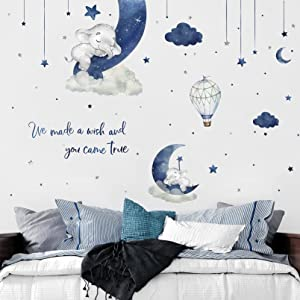 Yovkky Watercolor Blue Grey Sleeping Baby Elephant Wall Decals, Peel Stick We Made a Wish Moon Star Cloud Stickers Hot Air Balloon Nursery Decor, Home Decorations Kids Boys Bedroom Playroom Art Gift