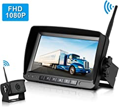 ZSMJ FHD 1080P Digital Wireless Backup Camera with 7'' Monitor Support Dual/Quad Split Screen for Trailers,RVs,Trucks,Campers High-Speed Observation System Guide Lines On/Off