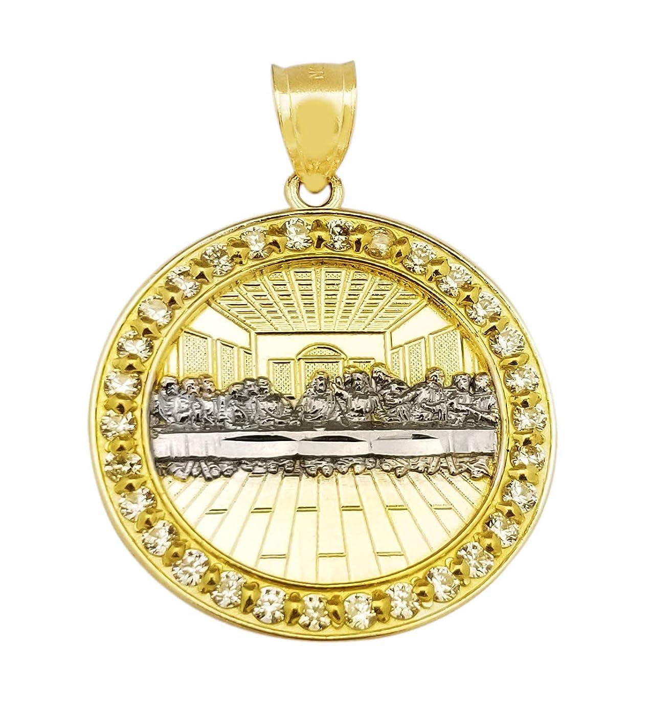 箱選択町AMZ Jewelry 10Kイエローゴールド 最後の晩餐ペンダント 最後の晩餐メダル