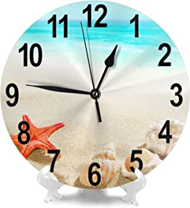 Seashell Starfish Beach Sand Ocean Wall Clock Non Ticking Silent Living Room Home Decor Battery Operated Easy to Read Quartz 10 Inch Round