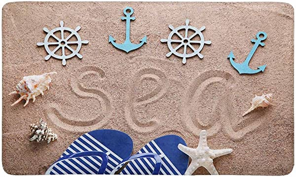 InterestPrint Flip Flop On Beach Sand With Nautical Anchor And Star Fish Doormat Anti Slip Entrance Mat Floor Rug Indoor Outdoor Front Door Mats Home Decor Rubber Backing Large 30 L X 18 W