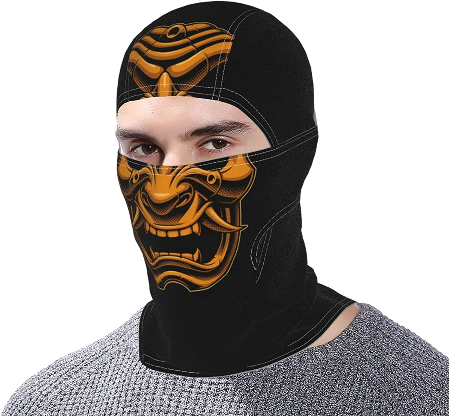 Awesome Samurai Oni Gold Balaclava Mask - Full face mask for Both Men and Women - Sun, Wind, Dust Protection