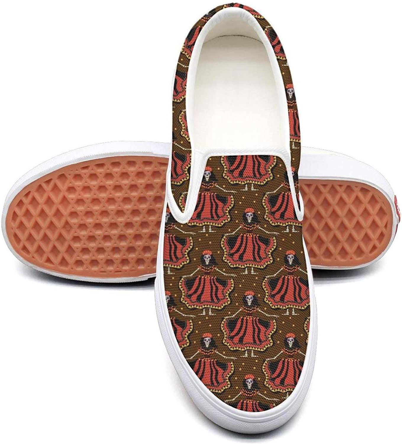 Brown Mexican colorful Skull Makeup Design Slip On Canvas Upper Loafers Canvas shoes for Women Fashion