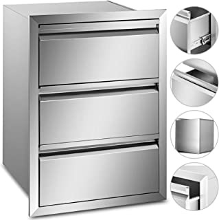 Mophorn Outdoor Kitchen Drawer Stainless Steel 14.7x25.4x18.7 Inch Triple Access BBQ Drawers Box Frame Style with Handle for Outdoor Kitchen