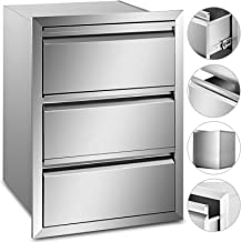 Mophorn Outdoor Kitchen Drawer Stainless Steel 14.7x25.4 Inch Triple Access BBQ Drawers Box Frame Style for Outdoor Kitchens BBQ Island