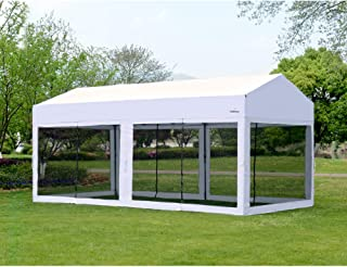 OUTDOOR LIVING SUNTIME 10' X 20' Easy Pop Up Canopy Party Tent Heavy Duty Garage Car Shelter, White-with Removable Sidewalls