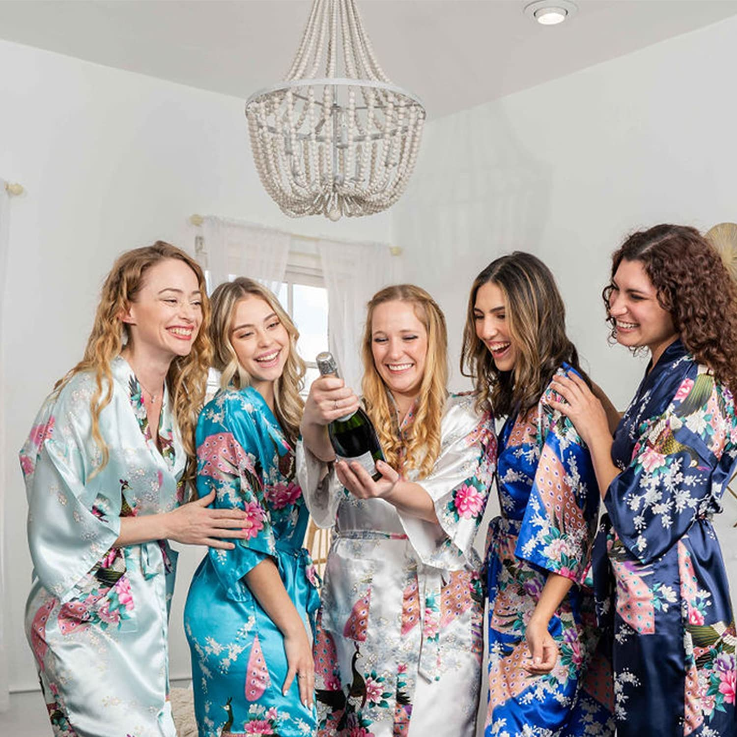 Floral Bridal Party Bride & Bridesmaid Robe Sets, Sizes 2 to 18, Mid Length