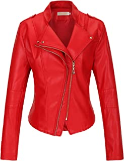 Women's Slim Zipper Color Faux Leather Jacket Red