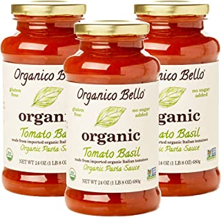 Organico Bello - Organic Gourmet Pasta Sauce - Tomato Basil - 24oz (Pack of 3) - Non GMO, Whole 30 Approved, Gluten Free