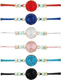 Make A Wish Bracelet Handmade Resin Druzy Bracelet Simple Women Jewelry Gifts Pack of 2/4/6/8