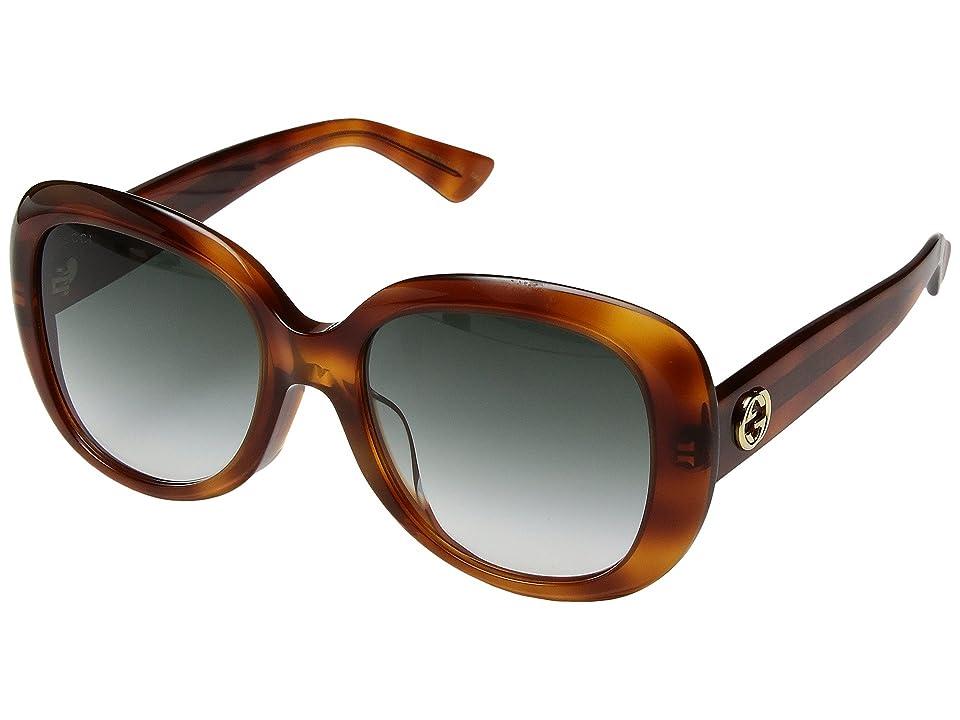 Gucci GG0140SA (Avana/Green Gradient) Fashion Sunglasses