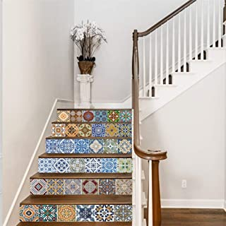 FLFK Self-Adhesive Mexican Tile Stickers Stair Stickers - Peel & Stick Kitchen Backsplash Tile Stickers- Traditional Tile Sticker for Bathroom Decor 39.3