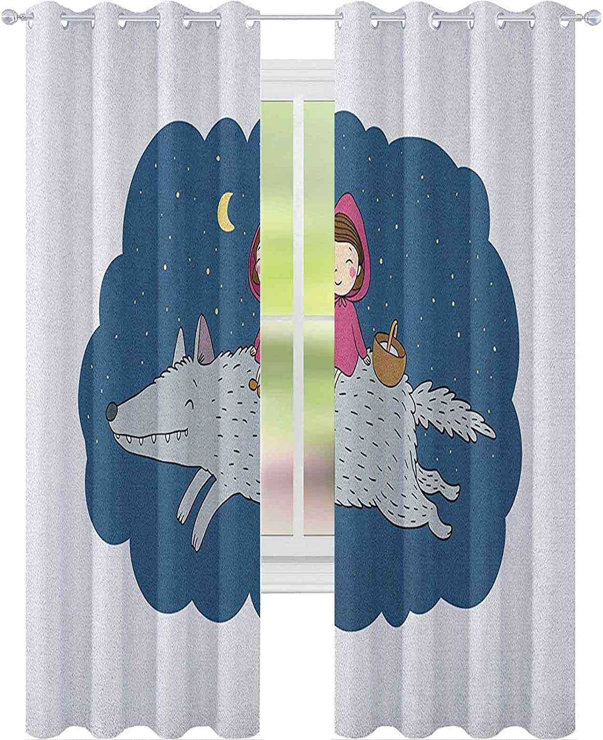 safety Curtains Ranking TOP11 Cartoon Kid in a Pink Hood and Basket on Wolf Giant R