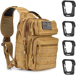 Weanas Tactical Sling Bag Pack Military Rover Shoulder Sling Backpack Molle Assault Range Bag with 4 Tactical D-Ring Clips