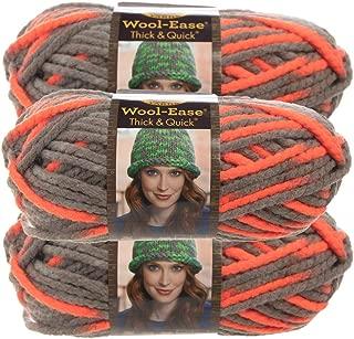 Lion Brand Yarn (3 Pack Wool Ease Super Chunky Yarn for Knitting Crocheting Soft Monarch Orange Gray Yarn Bulky #6
