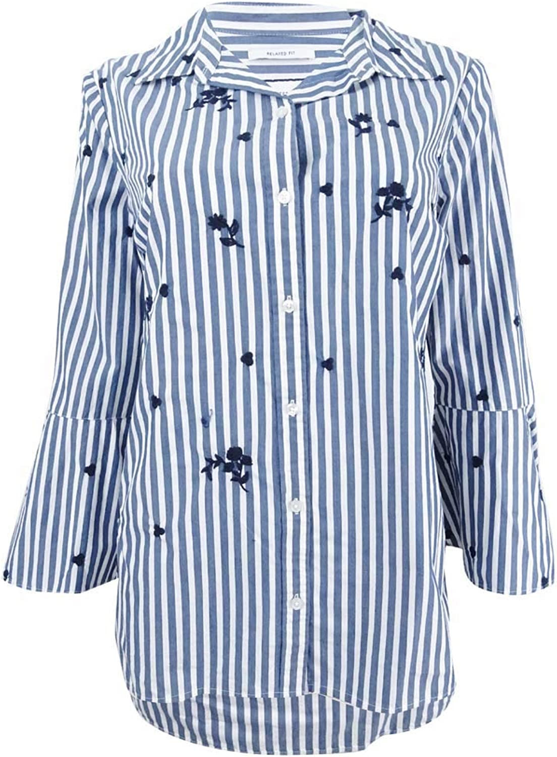 Charter Club Cotton Embroidered Blouse (Classic bluee Combo)