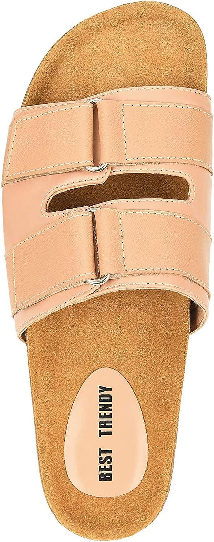 BEST TRENDY Women's Comfy Cork Footbed Sandals Leather Slip on Slides Shoes Adjustable Stap Flat Sandals