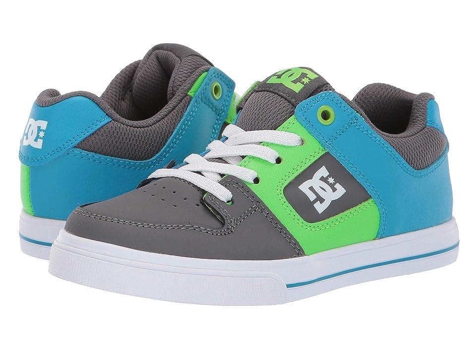 DC Kids Pure Elastic (Little Kid/Big Kid) (Grey/Green/Blue) Boys Shoes