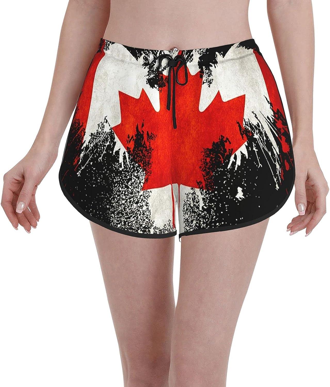 ZIZOI Canadian Flag Eagle Women's Shorts Drawstring Pant for Ath